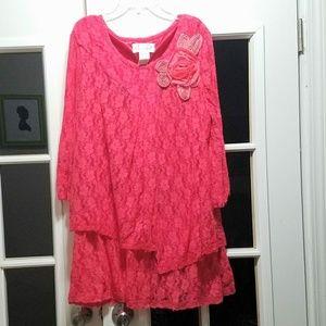 Ladies dark coral lace top!!